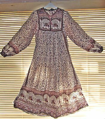 VINTAGE 1970's Rare INTERLINKS INDIAN HIPPY DRESS Festival Bohemian UK 8 10 12