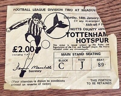 Notts County v Tottenham (Spurs) 14/1/1978 TICKET (offers invited) Division 2