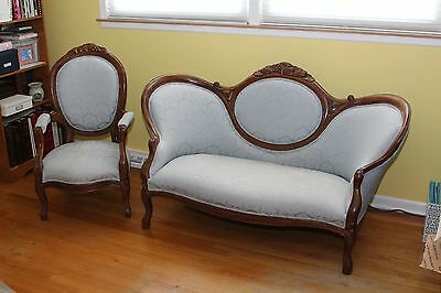 Antique Victorian Sofa and Chair with Carved Grape Motif