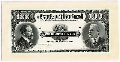 Canada. Stunning $100 Bank of Montreal from 1914.  Face PROOF.  Uncirculated.