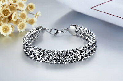 """8.5/""""MEN Stainless Steel WIDE 12mm Silver ICED Cuban Curb Link Chain Bracelet*B79"""
