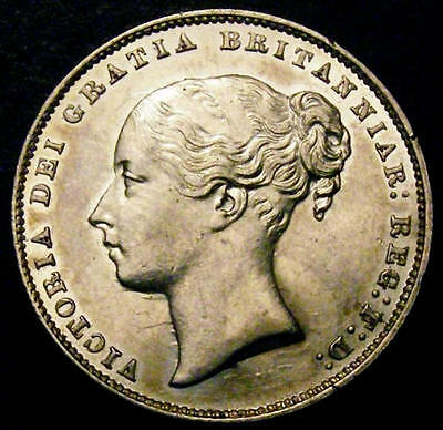 1865 AUNC Queen Victoria British Silver Shilling Coin Die number 110