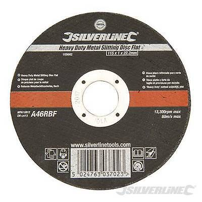 "Silverline 115mm x 1mm Very Thin Flat Metal Cutting Discs 4.5"" For Angle Grinder"