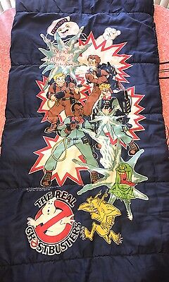 "THE REAL GHOST BUSTERS ~ Original 1986 Zipper Sleeping Bag ~ RARE ~ 60"" X 30"""
