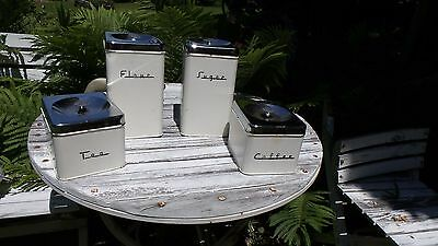 Vintage 4 Piece Shabby White Kitchen Canister Set Flour Sugar Coffee Tea