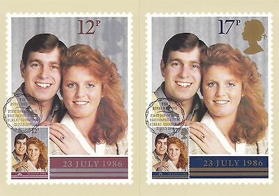 Royal Wedding 1986 Great Britain 2 PHQ Cards (Stamps on Front)