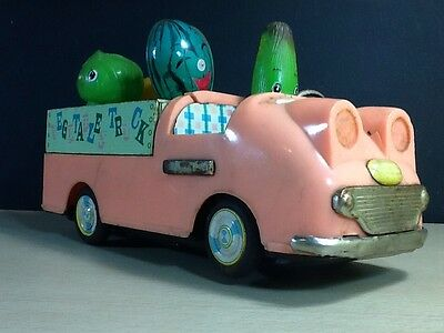 Bandai Battery Operated Musical Fruit and Vegetables tin truck vintage Japan