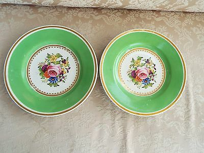 C. 1820 Pair English Regency Georgian Bone China Hand Painted Floral Dessert Pla