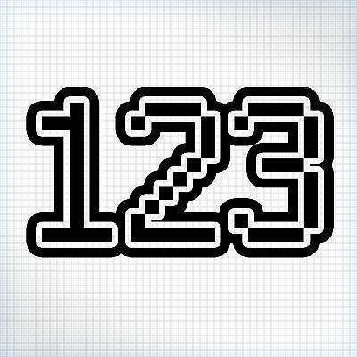 3 x Custom MX Race Numbers - Bike / Kart / Quad / Jet-Ski - Pixel Style