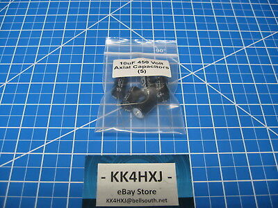 10uF 450V Axial Electrolytic Capacitors - 105C 2000Hr -  lot of 5