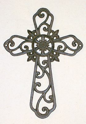 NEW~Cast Iron Delicate Ornate Filigree Cross Rust Brown~Christian Wall Decor