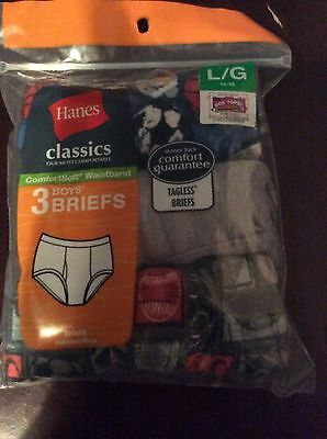 Hanes Boys Briefs, NEW IN PACKAGE, Large, 14-16