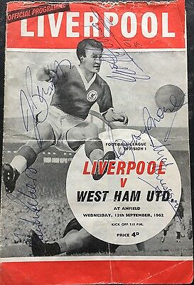 West Ham v Liverpool Anfield 1962 Football Prog  Signed Moore,Hurst and Peters.