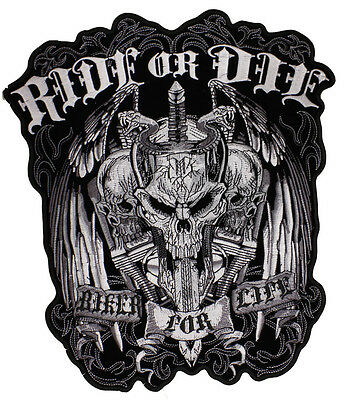 NEW Small size Ride or Die Skull Skulls Biker sew on Motorcycle Patch