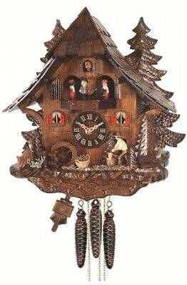 Quartz Cuckoo Clock Black Forest House With Moving Wood Chopper And Mill Wheel,