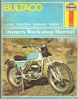 Bultaco Sherpa T,pursang,frontera,alpina,haynes Workshop Manual 1972 -1975