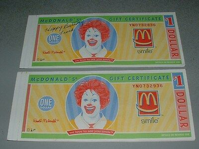 two vintage books of mcdonalds $1 gift certificates ($10 total), new ...