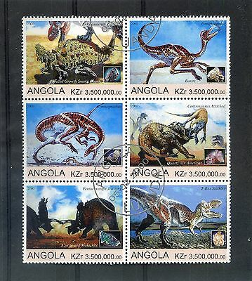 ANGOLA  2000 - REPTILES  - ( DINOSAURS ) Set of 6 Large stamps MNH VF