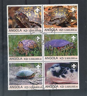 ANGOLA  2000 - REPTILES  - ( The TURTLE ) Set of 6 Large stamps MNH VF