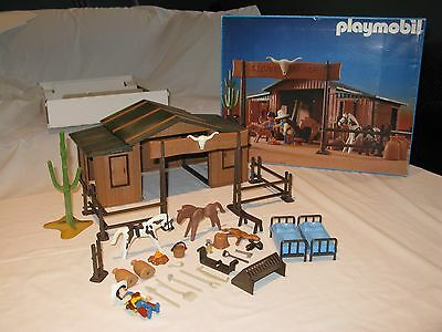 Playmobil Vintage Silver Ranch Western Set # 3768 Excellent Condition W/box