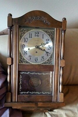 Fantastic HIGH END Ansonia 8 Day Westminister Chiming Wall Clock KEY WIND WOOD