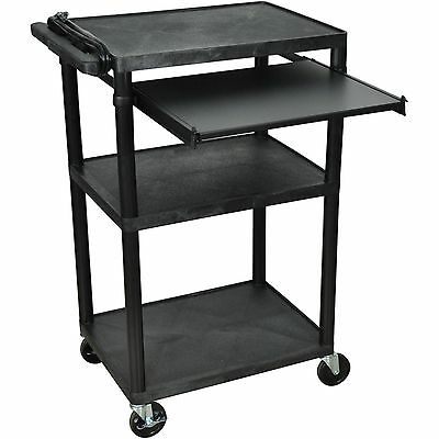 Luxor 3-Shelf A/V Cart with Front Pullout Shelf, Black
