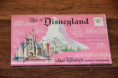Vintage This Is Disneyland Postcards 26 Colorful Scenes Foldout Booklet Greeting