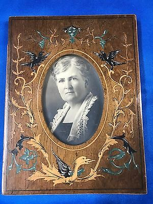 Vintage Marquetry Wood Picture Frame DRAGON BLACKBIRDS DEVILS BREATH Fine inlay