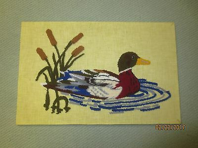 """Vintage PUNCH NEEDLE Embroidery DUCK & CATTAILS - Mounted 16 3/4"""" x 11"""""""
