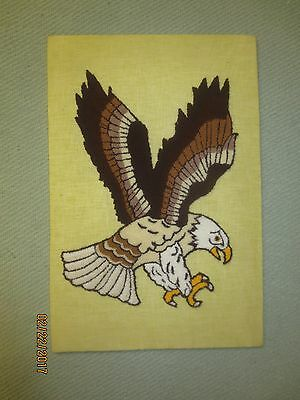 """Vintage PUNCH NEEDLE Embroidery EAGLE - Mounted 11 3/4"""" x 18"""""""