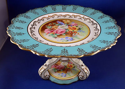 Paragon Rococo Design Hand Paint Footed Tazza Comport Compote Flowers Turquoise