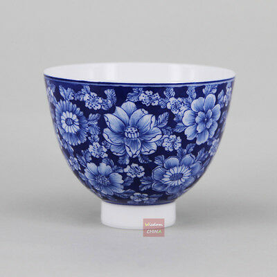 Fine hand painted flowers Chinese Blue and White Porcelain Tea Cup Handmade 60cc