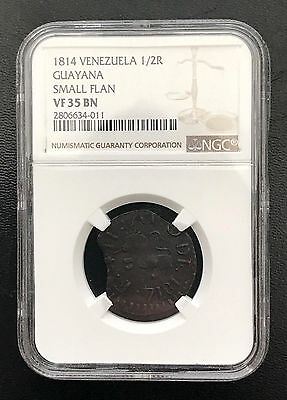 World Coins - Venezuela Guayana Province 1/2 Real 1814 Small Flan NGC VF35