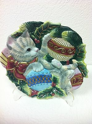 """Fritz and Floyd CHRISTMAS KITTEN 9"""" Canape Serving Plate - Handpainted NEW!!!"""