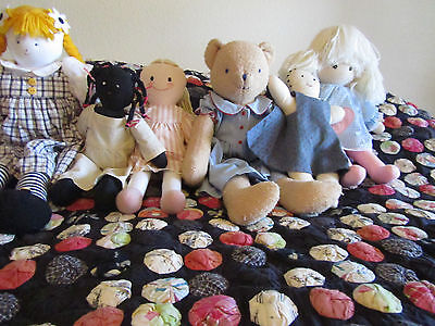 Collection of Six Cloth Dolls by KATE FINN, LAURA ASHLEY, SHAKER WORKSHOP