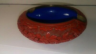 Antique Chinese Cinnabar Hand Carved Florals Brass Blue Enamel Ashtray Ash Tray