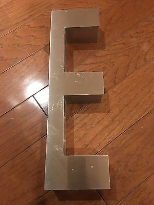 """Stainless Steel Sign Letter """"E"""" 20"""" Tall  6"""" Wide 3 1/2"""" Deep. Used Vintage"""