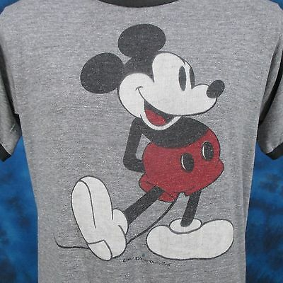 vintage 80s MICKEY MOUSE WALT DISNEY PAPER THIN HEATHER RINGER T-Shirt MEDIUM