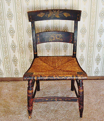 Antique Folk Art Stencil Painted Hitchcock Original Rush Seat Side Chair