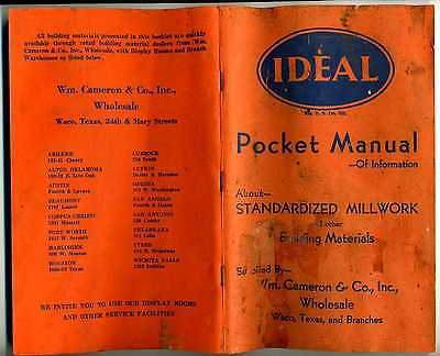(Contractor,Craftsman)IDEAL Pocket Manual(Millwork,Building.Materials)ca.1945