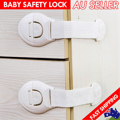 Baby Child Kid Adhesive Toddler Safety Lock Belt Drawer Cabinet Cupboard Door AU