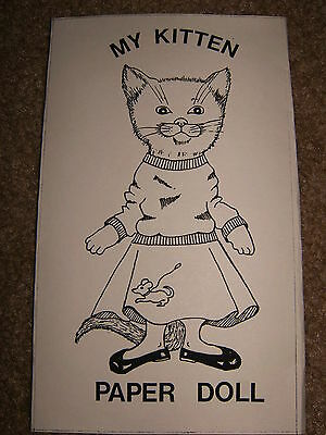 My Kitten Paper Doll, Artist Print of Original. Packet with Doll & 5 Sheets