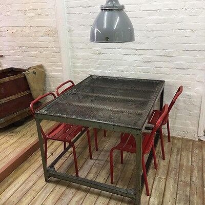Industrial Vintage French Factory Workbench Kitchen Metal Table