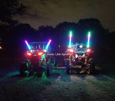 Pair 3FT 300LEDS Spiral Wrapped Chasing  Twisted Sandtoys Whips Lights (Remote)