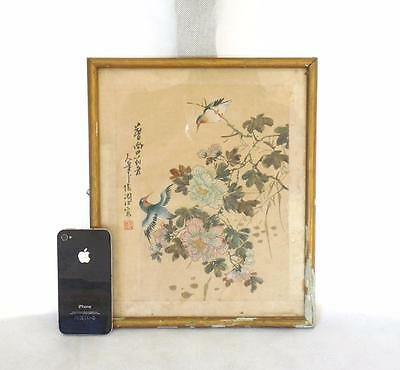 Chinese 19thC Qing Dynasty Framed Silk Painting. Signed