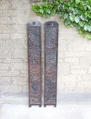18th Century Poss Zitan Wood Qing Dynasty Carved Pillar Panels