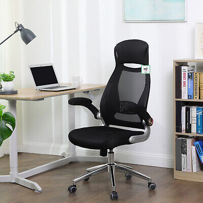 Office Swivel Chair Mesh Backres with Headrest and Flip up Armrests Black OBN86B