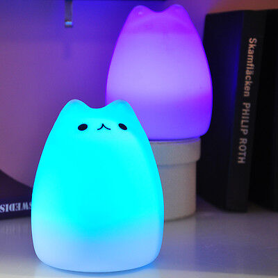Celebrity 7-Color Cat LED Night Light Silicone Soft Baby Nursery Lamp Breathing