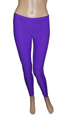 Girls Legging Kids Plain Color School Fashion Dance Leggings New Purple Colour