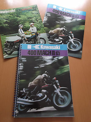 kawasaki S3 S3A 400cc 1974 1975 Parts Manuals & Sales Brochures.